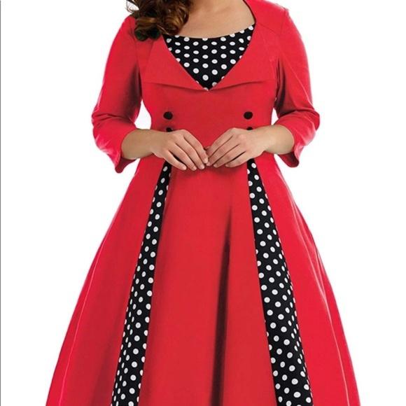 Retro Housewife Red & Polka Dot Shirt Dress Plus NWT